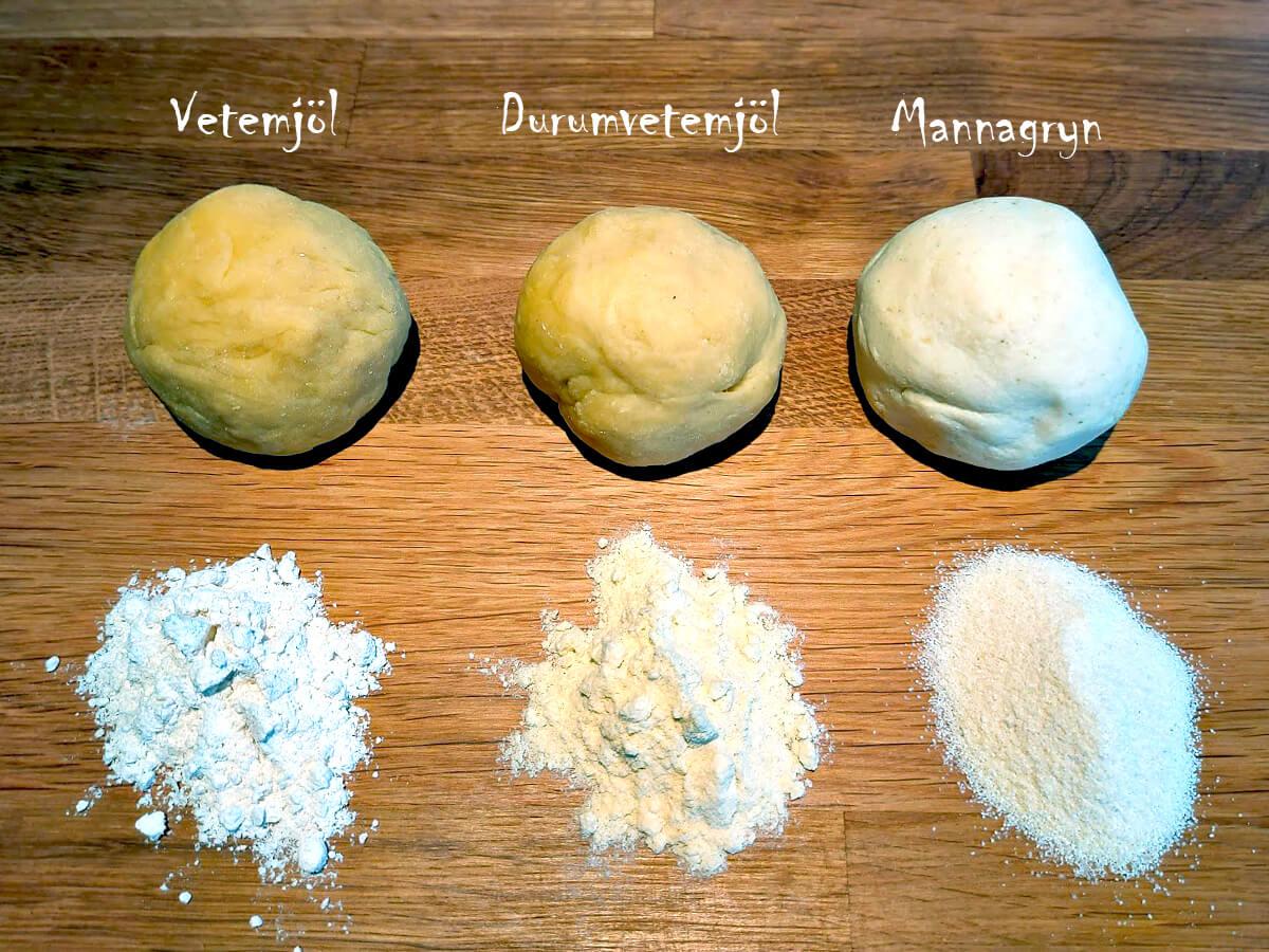Tre olika pastadegar gjord på olika mjölsorter