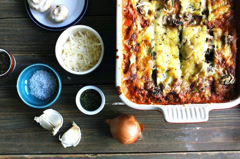 Vegetarisk lasagne med spenat och sojafärs