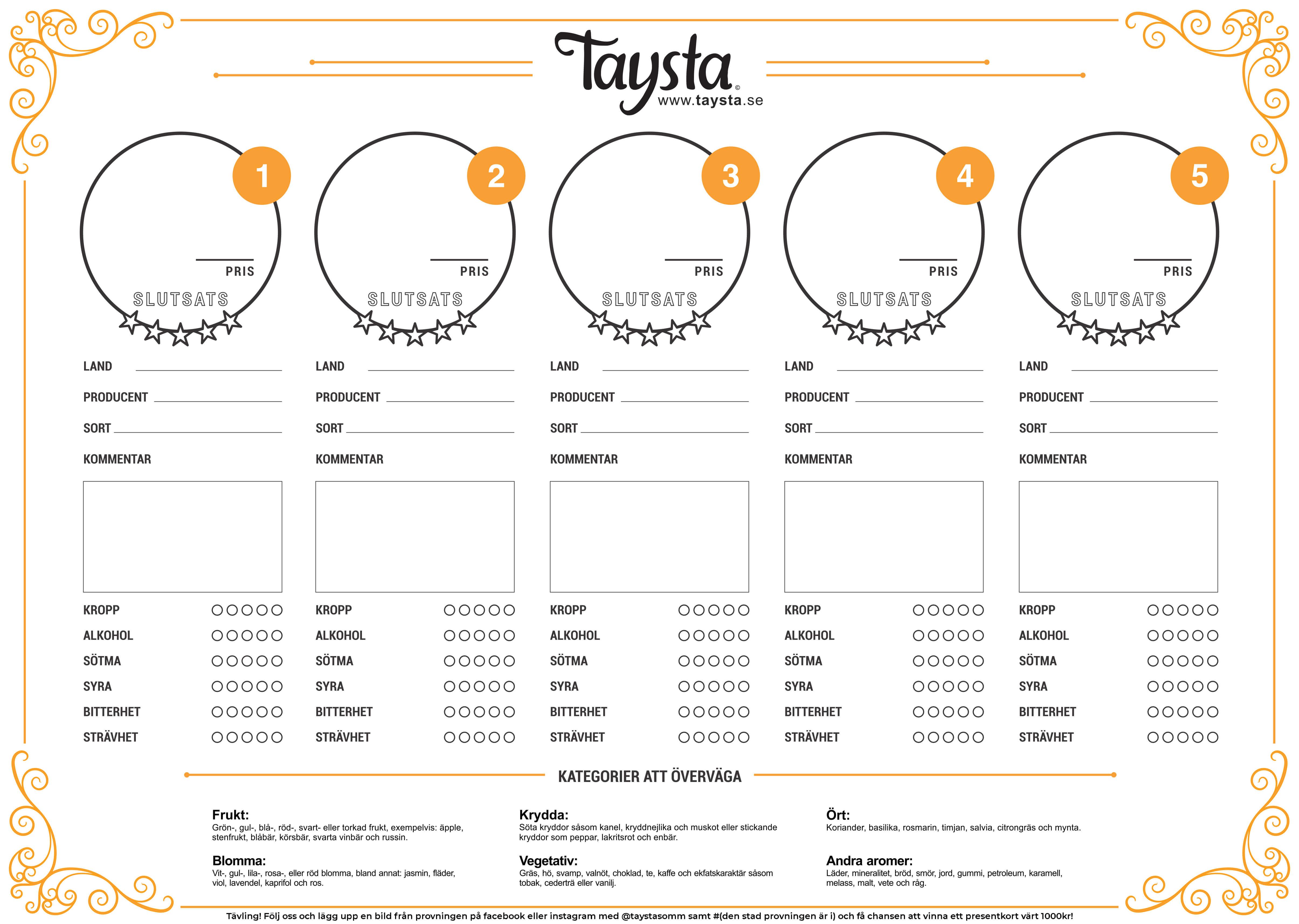 Vinprovningsprotokoll från Taysta med doft, smak och analys