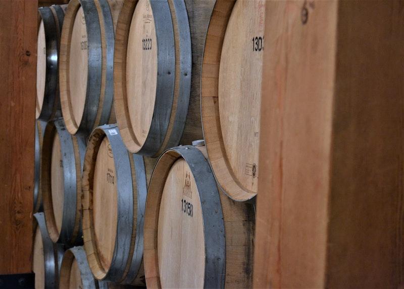 Vin på lagring i ekfat och vintunnor